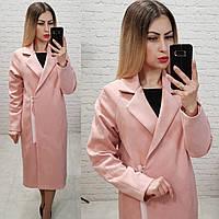 Распродажа!!! Пальто женское замшевое с подкладкой арт.M100 розовая пудра, фото 1