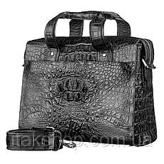 Мужская сумка из натуральной кожи крокодила Crocodile leather 18022 Черная, фото 2