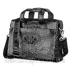 Мужская сумка из натуральной кожи крокодила Crocodile leather 18022 Черная, фото 3