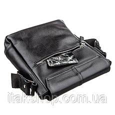 Кожаная мужская сумка мессенджер Shvigel (Черный), фото 3