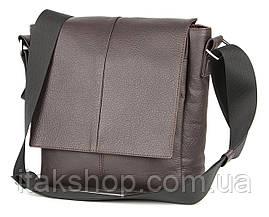 Кожаная мужская сумка Shvigel (Коричневая), фото 3