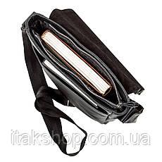 Стильная мужская сумка из натуральной кожи Швигель Черная, фото 2