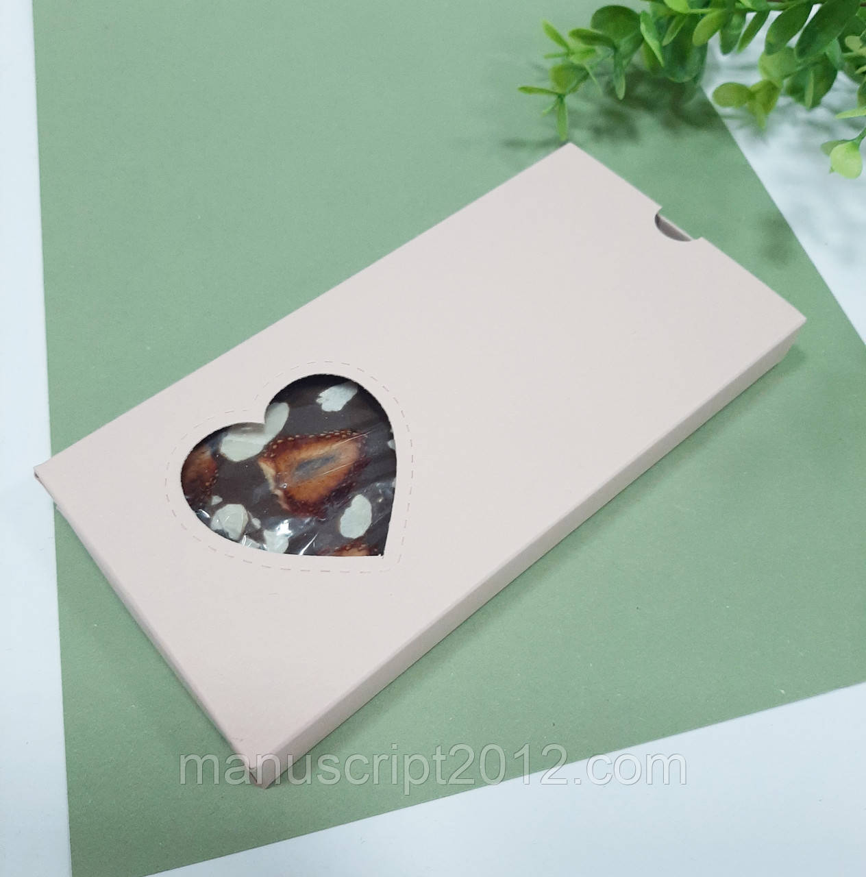 Коробка для шоколаду пудрова 160х80х15 мм.