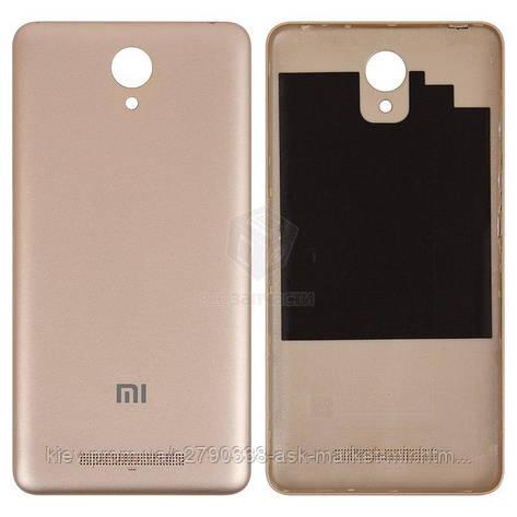 Задня панель корпусу (кришка акумулятора) для Xiaomi Redmi Note 2 Original Gold, фото 2