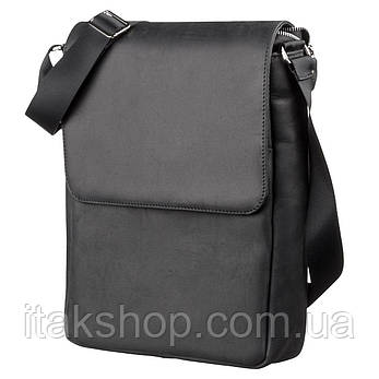 Сумка SHVIGEL 13891 из натуральной винтажной кожи Черная, Черный, фото 2