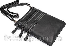 Сумка Vintage 14555 из натуральной кожи Черная, Черный, фото 3
