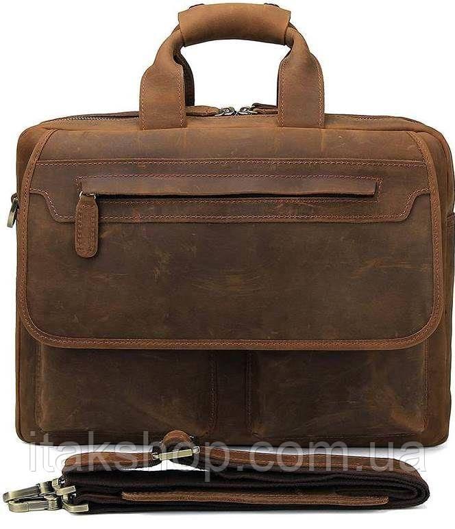 Сумка Vintage 14563 из натуральной винтажной кожи Коричневая, Коричневый