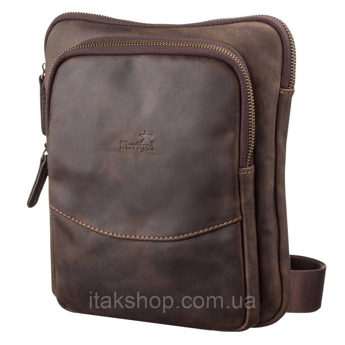 Мужская кожаная сумка-планшет Shvigel 11091 Коричневая