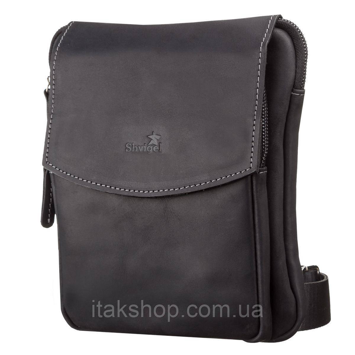 Мужская кожаная сумка Shvigel Черная