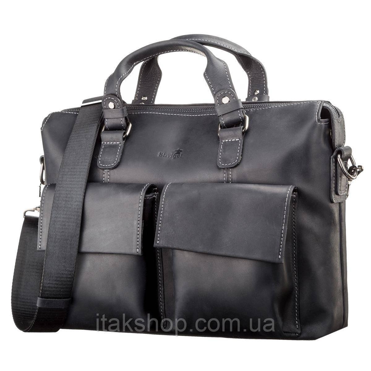 Кожаная сумка для ноутбука Shvigel Черная