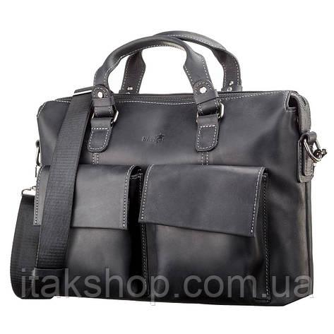 Кожаная сумка для ноутбука Shvigel Черная, фото 2