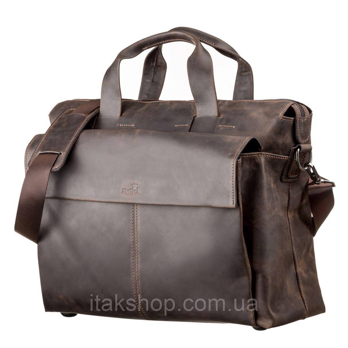 Большая мужская сумка SHVIGEL 11119 кожаная Коричневая, Коричневый