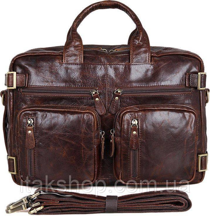 Сумка мужская Vintage 14590 кожаная Коричневая, Коричневый