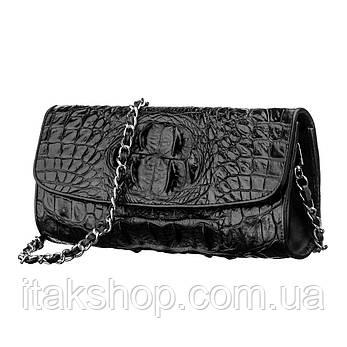 Сумка клатч CROCODILE LEATHER 18242 из натуральной кожи крокодила Черная, Черный, фото 2