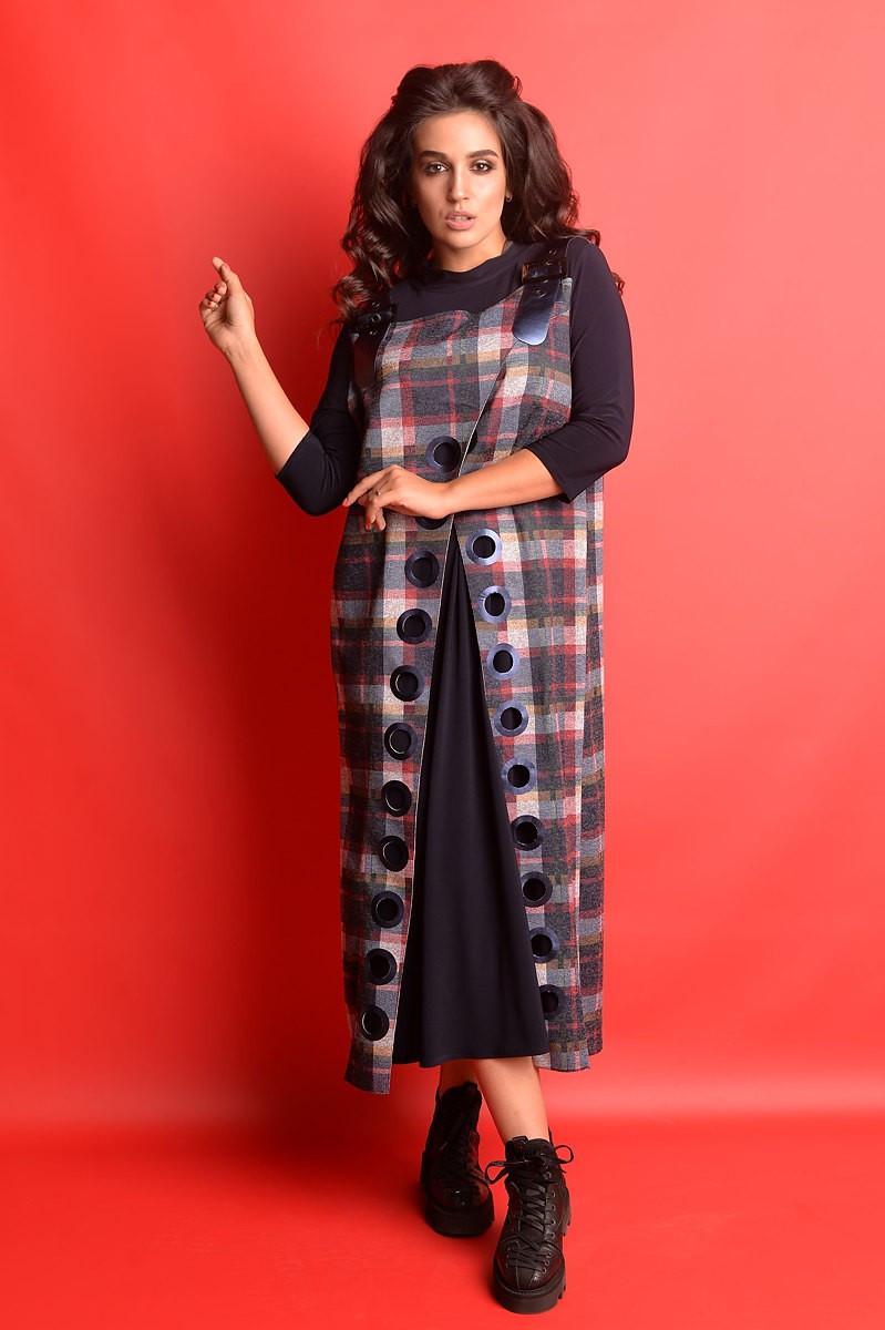 Женское комбинированное платье-сарафан большого размера.Размеры:50-62