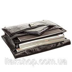 Портфель мужской KARYA 17273 кожаный Черный под крокодила, Черный, фото 3