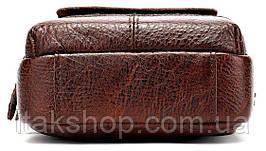 Сумка небольшая флотар мужская Vintage 14650 Коричневая, Коричневый, фото 3