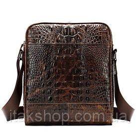 Вертикальная мужская сумка с тиснением под крокодила Vintage 14710 (Коричневая)
