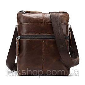 Мужская кожаная сумка Vintage на плечо 14716 Коричневая