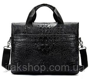 Мужская сумка для ноутбука с тиснением под рептилию Vintage 14718 Черная