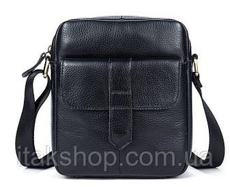 Кожаная мужская сумка флотар Vintage (Черная)