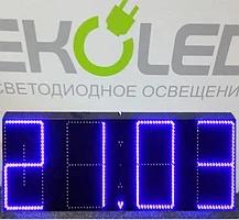 Светодиодные часы (дата, время, температура) 300*900мм синяя индикация