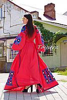 Платье бохо вышиванка лен, этно, бохо-стиль, вишите плаття червоне, вишиванка, красное платье в пол