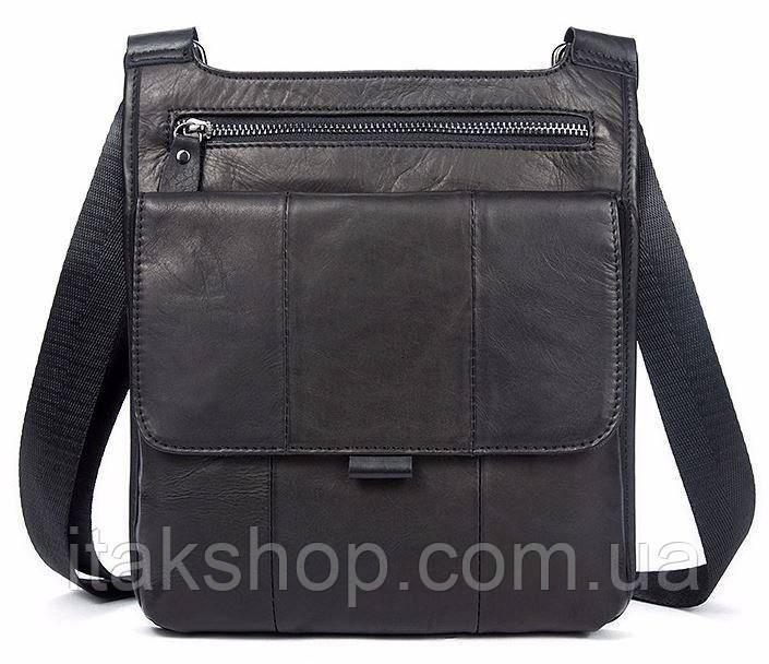 Сумка мужская гладкая Vintage 14732 Черная, Черный