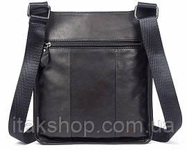 Сумка мужская гладкая Vintage 14732 Черная, Черный, фото 2