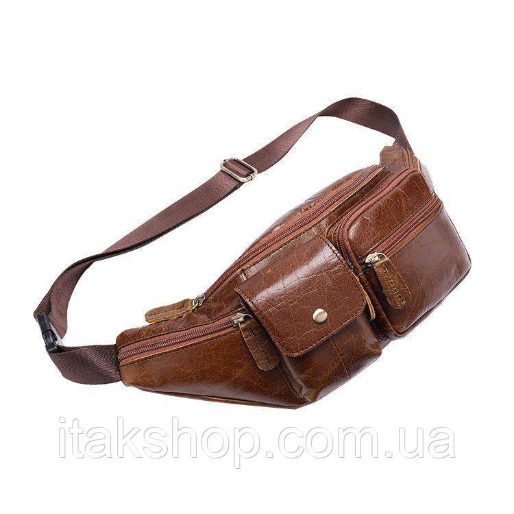 Поясная сумка гладкая Vintage 14739 Коричневая, Коричневый