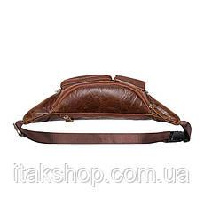 Поясная сумка гладкая Vintage 14739 Коричневая, Коричневый, фото 2