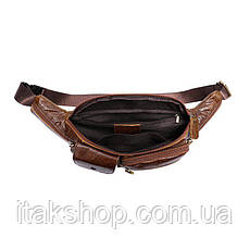 Поясная сумка гладкая Vintage 14739 Коричневая, Коричневый, фото 3