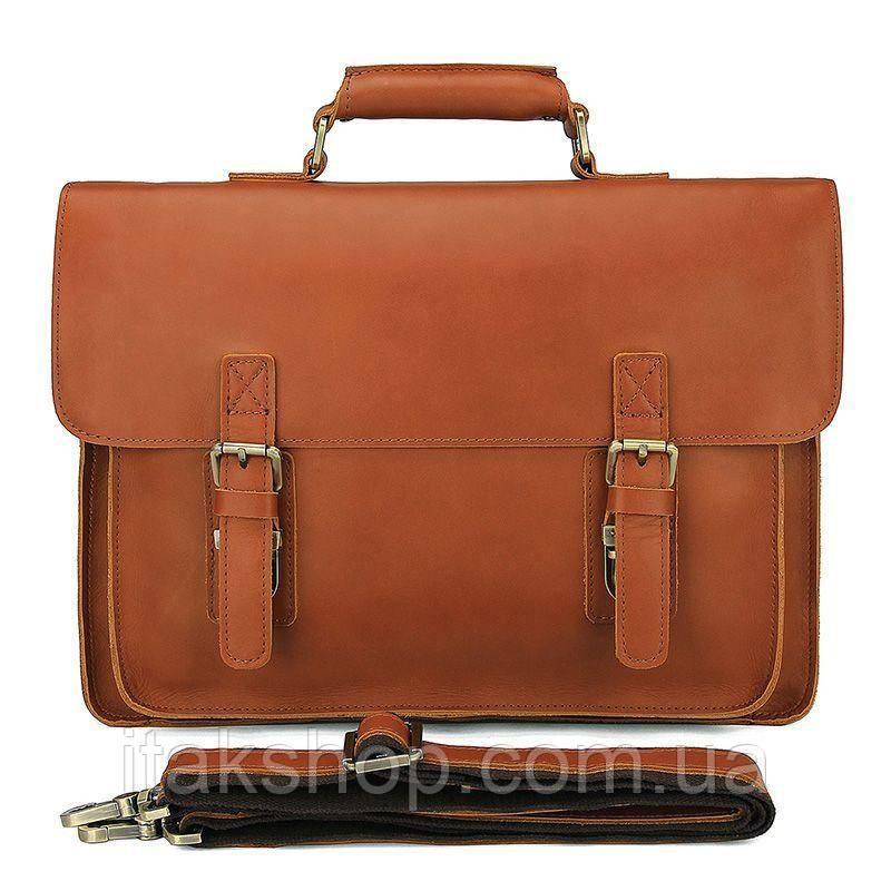 Кожаный портфель матовый Vintage 14937 Рыжий, Рыжий