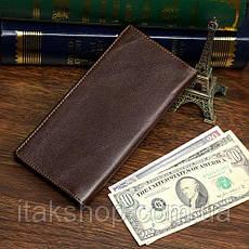 Купюрник мужской Vintage 14173 кожаный Коричневый, Коричневый, фото 2