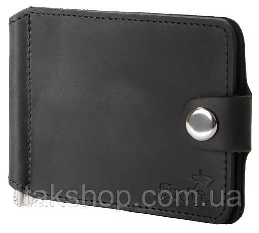 Зажим для купюр SHVIGEL 13787 из винтажной кожи Черный, Черный, фото 2