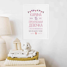 """Постер метрика """"Baby party"""" персонализированный"""