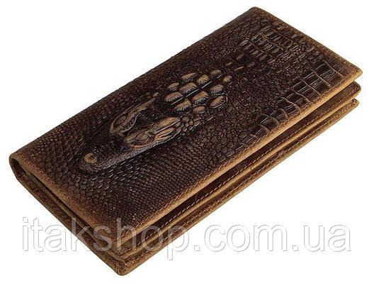Купюрник мужской Vintage 14381 кожаный Коричневый, Коричневый, фото 2