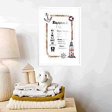 """Постер метрика """"Морской"""" персонализированный, фото 3"""