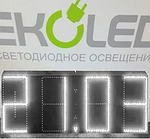 Светодиодные часы (дата, время, температура) 300*900мм белая индикация