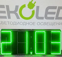 Светодиодные часы (дата, время, температура) 300*900мм зеленая индикация, фото 1
