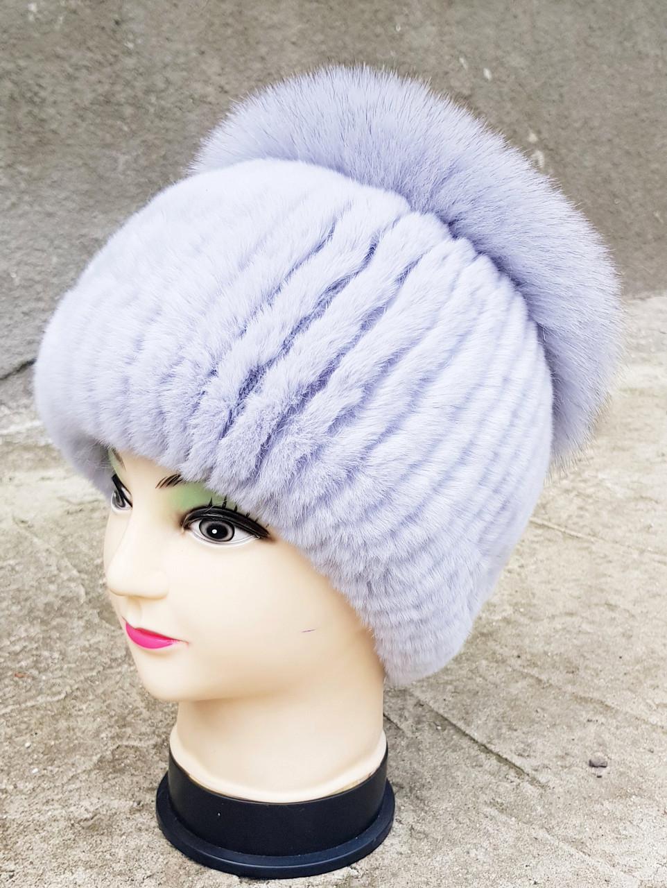 Женская меховая шапка Klaus Рекс с Песцом 55-58 Серо-Голубой  (024)