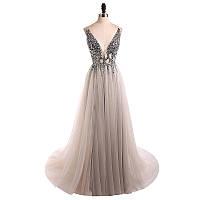 Свадебное - Вечернее платье 2019 V-образным вырезом с открытой спиной (Цвета в наличие)
