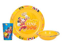 Набір посуду для дітей INVICTUS Disney Mickey 3 предмети Пластик Жовтий (815805)