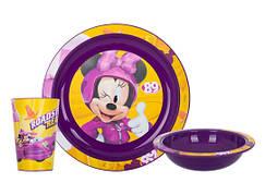 Набір посуду для дітей INVICTUS Disney Minnie 3 предмети Пластик Фіолетовий (814969)