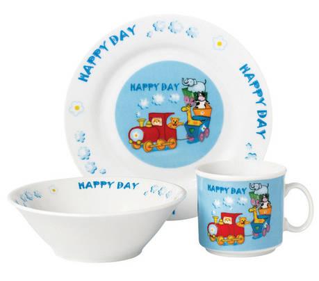 Набор посуды для детей LIMITED EDITION Happy train 3 предмета Фарфор Белый / Голубой (D111025), фото 2