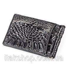 Зажим CROCODILE LEATHER 18050 из натуральной кожи крокодила Черный, Черный, фото 2