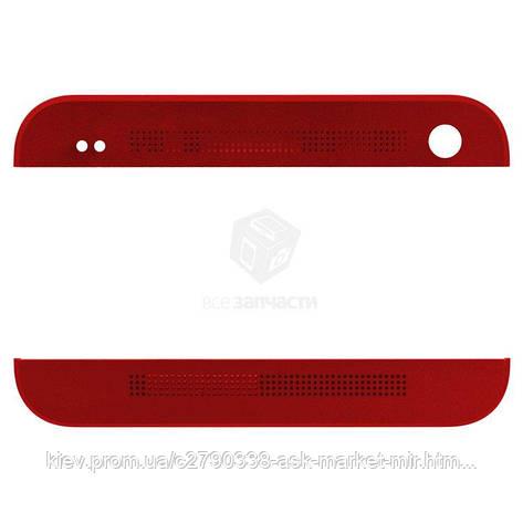 Верхняя + нижняя панель корпуса для HTC One M7 801e Original Red, фото 2