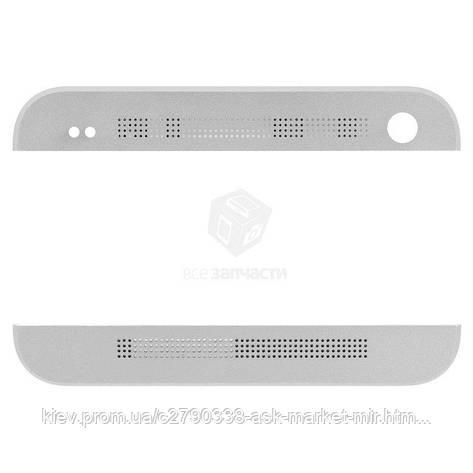Верхняя + нижняя панель корпуса для HTC One M7 801e Original Silver, фото 2