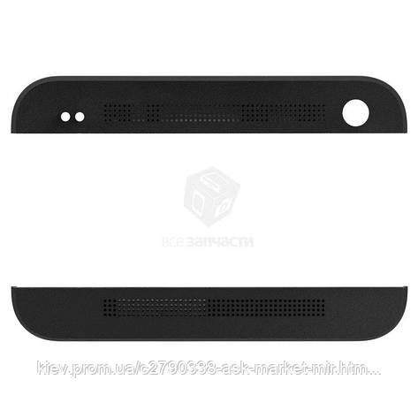 Верхняя + нижняя панель корпуса для HTC One M7 801e Original Black, фото 2