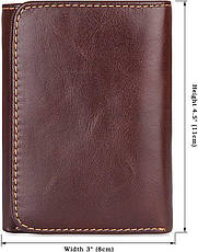 Кошелек мужской Vintage 14595 кожаный Коричневый, Коричневый, фото 3